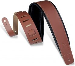 """Levy's Leathers 3"""" Wide Walnut Genuine Leather Guitar Strap"""