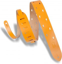 """Levy's Leathers 2"""" Wide Tan Chrome-Tan Lightning Bolt Punch Out Design Leather Guitar Strap"""