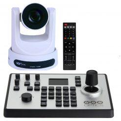 PTZOptics 30X-NDI Network Broadcast Camera - White + PTZOptics PTJOY G4 Joystick Controller