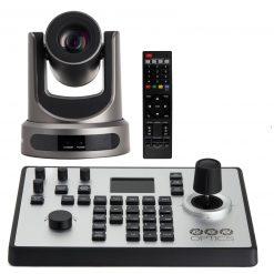 PTZOptics 12X-NDI Broadcast and Conference Camera, Gray + PTZOptics PTJOY G4 Joystick Controller