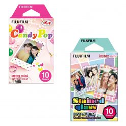 Fuji Instax Mini Instant Films Candy Pop (10 Sheets) + Stained Glass (10 Sheets)