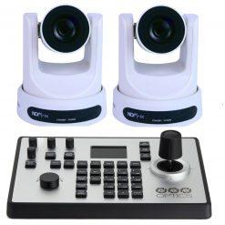 PTZOptics 30X-NDI Network Broadcast Camera - White, 2 Pack + PTZOptics PTJOY G4 Joystick Controller