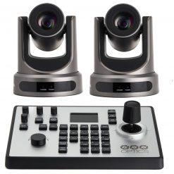 PTZOptics 12X-NDI Broadcast and Conference Camera, Gray, 2 Pack + PTZOptics PTJOY G4 Joystick Controller