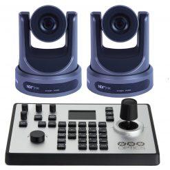 PTZOptics 30X-NDI Broadcast and Conference Camera, Grey, 2 Pack, + PTZOptics PTJOY G4 Joystick Controller