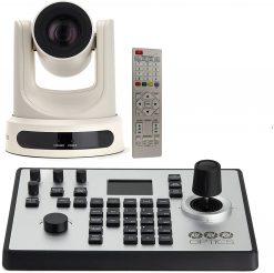 PTZOptics 12X-USB Video Conferencing Camera, White + PTZOptics PTJOY G4 Joystick Controller