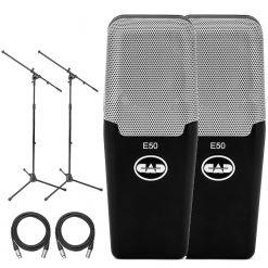 CAD E50 Equitek Large-Diaphragm Side-Address Studio Condenser Microphone (2 Microphones) with 2 Euro Boom Style Microphone Stands and 2 XLR Mic Cables