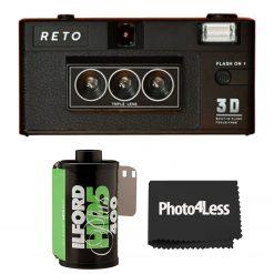 RETO 3D Film Camera + Illford HP5 Plus Black & White Print Film 35mm 24 Exposures + Cloth