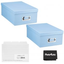 """Pioneer Photo Storage Box Holds Up To 4""""X7"""" Sky Blue + 4x6 Refill Cards"""
