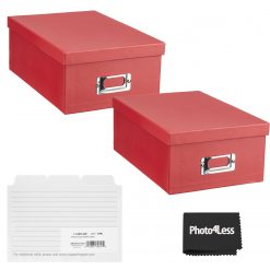 """Pioneer Photo Storage Box Holds Up To 4""""X7"""" Bright Red + 4x6 Refill Cards"""