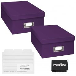 """Pioneer Photo Storage Box Holds Up To 4""""X7"""" Bright Purple + 4x6 Refill Cards"""