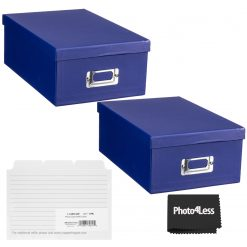 """Pioneer Photo Storage Box Holds Up To 4""""X7"""" Bright Blue + 4x6 Refill Cards"""