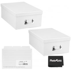 """Pioneer Photo Storage Box Holds Up To 4""""X7"""" White + 4x6 Refill Cards"""