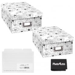 """Pioneer Photo Storage Box Holds Up To 4""""X7"""" B&W Inked Floral + 4x6 Refill Cards"""