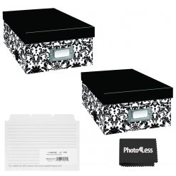 """Pioneer Photo Storage Box Holds Up To 4""""X7"""" B&W Damask + 4x6 Refill Cards"""