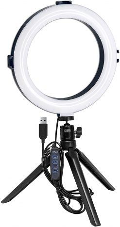 Vidpro 8 Inch Bi-Color LED Ring Light Kit with Table Top Tripod and Ball Head