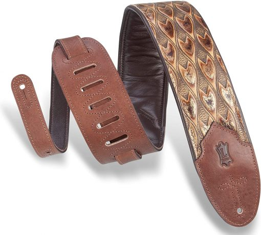 Levy's Leathers 3″ Wide Embossed Leather Guitar Strap