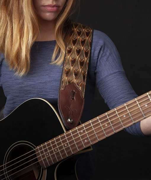 """Levy's Leathers 3"""" Wide Embossed Leather Guitar Strap"""