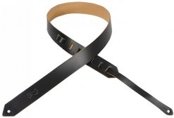 """Levy's Leathers  1 1/2"""" Wide Black Genuine Leather Guitar Strap."""