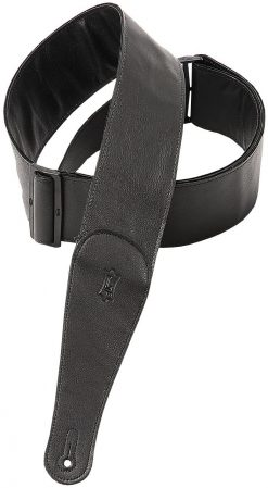 """Levy's Leathers  3"""" Wide Black Garment Leather Guitar Strap."""