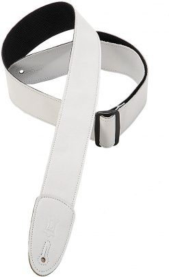 """Levy's Leathers  2"""" Wide White Garment Leather Guitar Strap."""