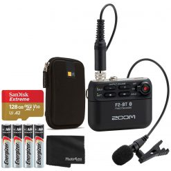 Zoom F2 BT Bluetooth Field Recorder with Lavalier Microphone + More