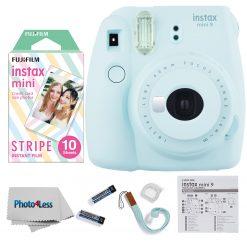 Fujifilm Instax Mini 9 Camera Ice Blue + Mini Stripe Film - 10 Exposures