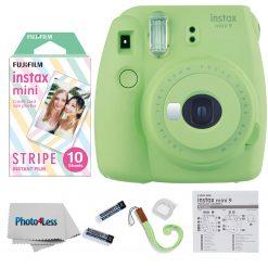 Fujifilm Instax Mini 9 Camera Lime Green + Mini Stripe Film - 10 Exposures
