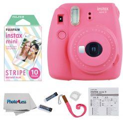 Fujifilm Instax Mini 9 Camera Flamingo Pink + Mini Stripe Film - 10 Exposures