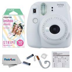 Fujifilm Instax Mini 9 Camera Smokey White + Mini Stripe Film - 10 Exposures