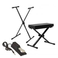 Ultimate Support JSXS300 Single Brace X-Style Keyboard Stand + Medium Keyboard Bench + Universal Sustain Pedal