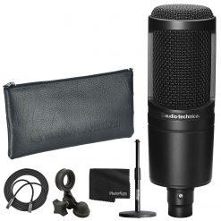 Audio-Technica AT2020 Cardioid Condenser Studio XLR Microphone Black + Acc.