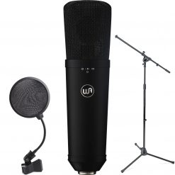 Warm Audio WA-87 R2 Large-Diaphragm Multipattern Condenser Microphone (Black) with Boom Microphone Stand and 4-Inch Pop Filter