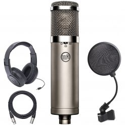 Warm Audio WA-47jr Large-Diaphragm FET Condenser Microphone (Silver) with Samson Over-Ear Stereo Headphones, 4-Inch Pop Filter and XLR Cable