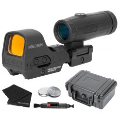 Holosun HS510C Open Reflex Multi-Reticle Red Dot Sight + HM3X 3X Magnifier Combo Set + Extra Batteries and Lens Cleaning Kit