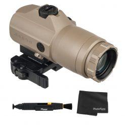 Sig Sauer JULIET4 4X Magnifier, 4x24mm, PowerCam QR Mount - FDE + Lens Cleaning Kit and Cloth