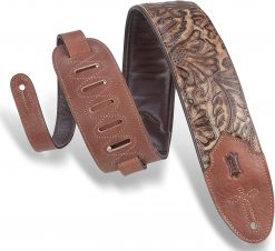 """Levy's Leathers 3"""" Wide Embossed Leather Guitar Strap Pecan Palm"""