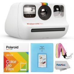 Polaroid GO Camera White + Polaroid GO Color Film – Double Pack + Album + Strap