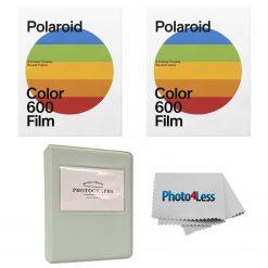 Polaroid Color Film for 600 - Round Frame 8 Frames X2 + Album + Cloth